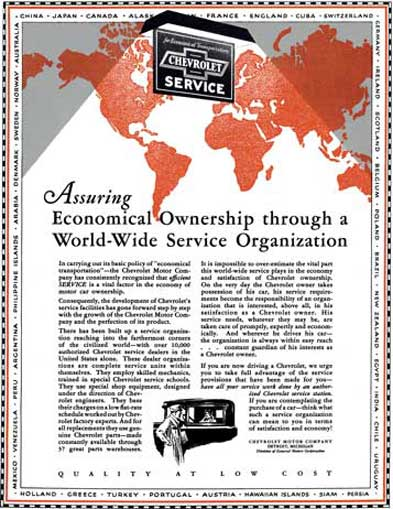 Chevrolet 1929 - Chevrolet Ad - Assuring Economical Ownership through a World-Wide Service Organizat