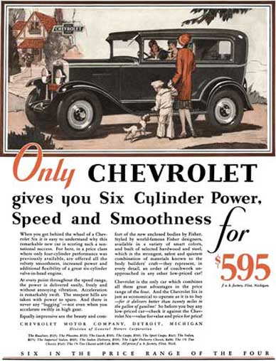Chevrolet 1929 - Chevrolet Ad - Only Chevrolet gives you Six Cylinder Power, Speed and Smoothness