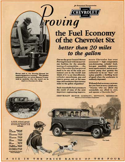 Chevrolet 1929 - Chevrolet Ad - Proving the Fuel Economy of the Chevrolet Six better than 20 miles