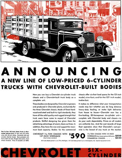 Chevrolet 1931 - Chevrolet Ad - Announcing a New Line of Low-Priced 6-Cylinder Trucks with Chevrolet
