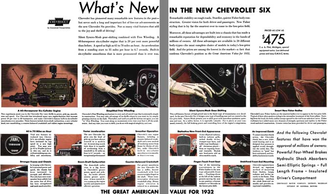 Chevrolet 1932 - Chevrolet Ad - What's New in the New Chevrolet Six