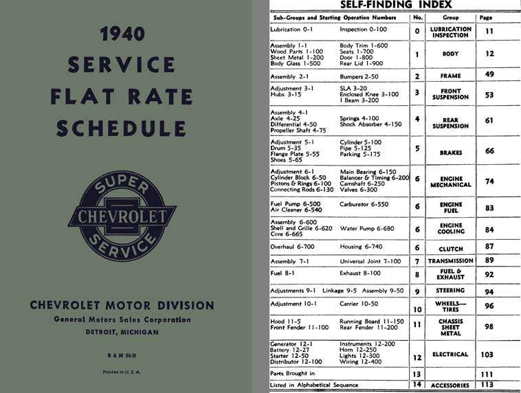 Chevrolet 1940 - 1940 Service Flat Rate Schedule Super Chevrolet Service