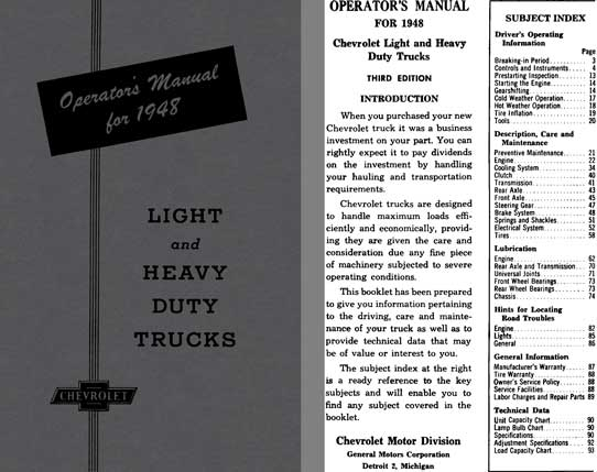 Chevrolet 1948 - Operator's Manual Light and Heavy Duty Trucks
