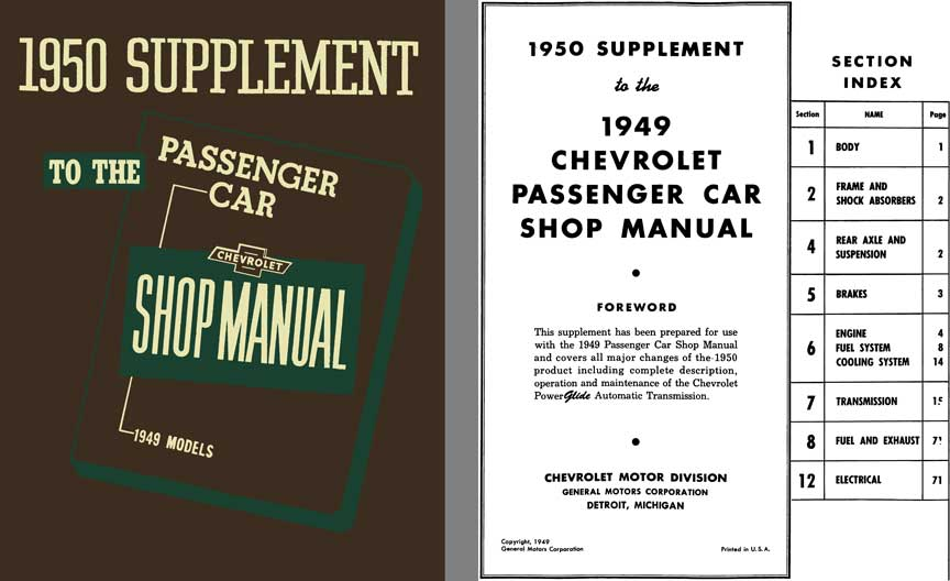 Chevrolet 1950 - 1950 Supplement to the 1949 Passenger Car Shop Manual - 1949 Models