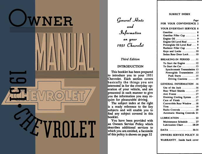 Chevrolet 1951 - 1951 Chevrolet Owner Manual
