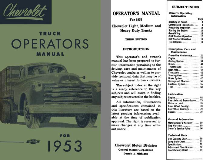 Chevrolet 1953 - Chevrolet Truck Operator's Manual for 1953 - Light, Medium & Heavy Duty Trucks