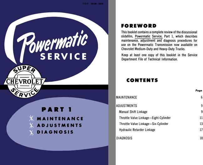 Chevrolet 1956 - Powermatic Service - Part 1 Maintenance, Adjustments, Diagnosis