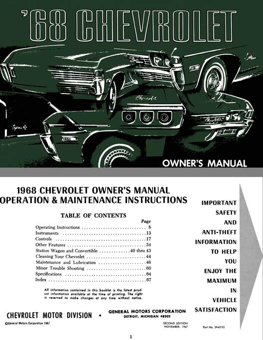 Chevrolet 1968 - '68 Chevrolet Owner's Manual