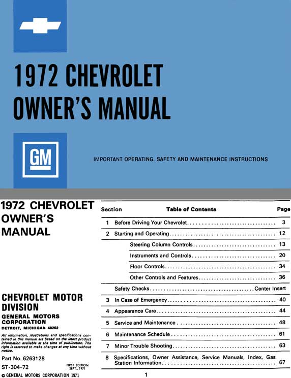 Chevrolet 1972 Owner's Manual