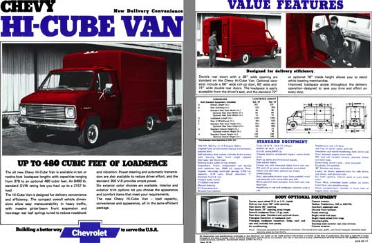 Chevrolet 1973 - Chevy Hi-Cube Van  New Delivery Convenience