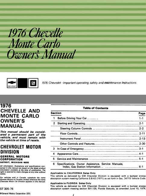 Chevrolet 1976 Chevelle, Monte Carlo Owner's Manual