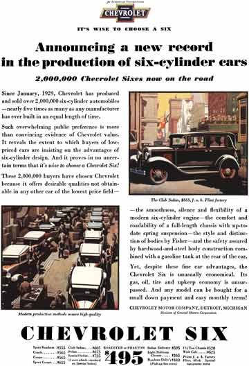 Chevrolet c1931 - Chevrolet Ad - Announcing a new record in the production of six-cylinder cars