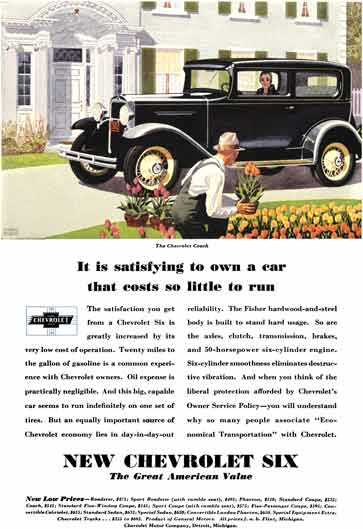 Chevrolet c1931 - Chevrolet Ad - It is satisfying to own a car that costs so little to run