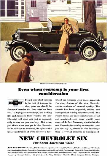 Chevrolet c1931 - Chevrolet Ad - Even when economy is your first consideration
