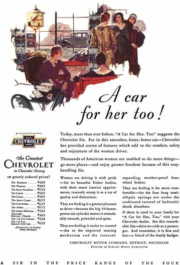 Chevrolet c1931 - Chevrolet Ad - A car for her too! A Six in the Price Range of the Four
