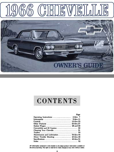 Chevrolet Chevelle 1966 Owner's Guide