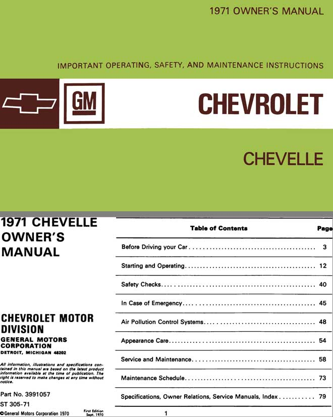 Chevrolet Chevelle 1971 Owner's Manual - 1971 Owner's Manual Chevrolet Chevelle
