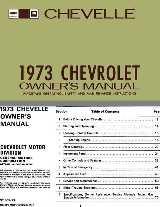 Chevrolet Chevelle 1973 Owner's Manual - Chevelle 1973 Chevrolet Owner's Manual