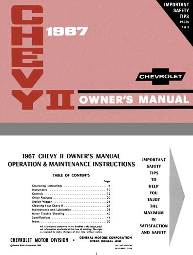 Chevrolet Chevy II 1967 Owner's Manual