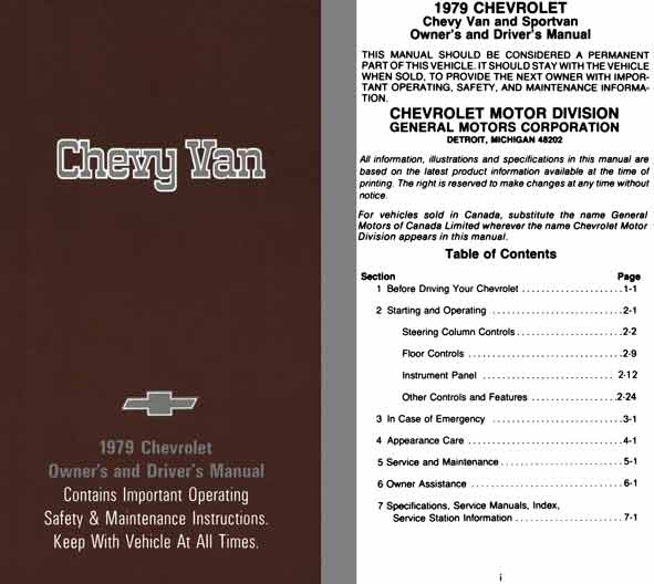 Chevrolet Chevy Van 1979 - Chevy Van 1979 Chevrolet Owner's and Driver's Manual