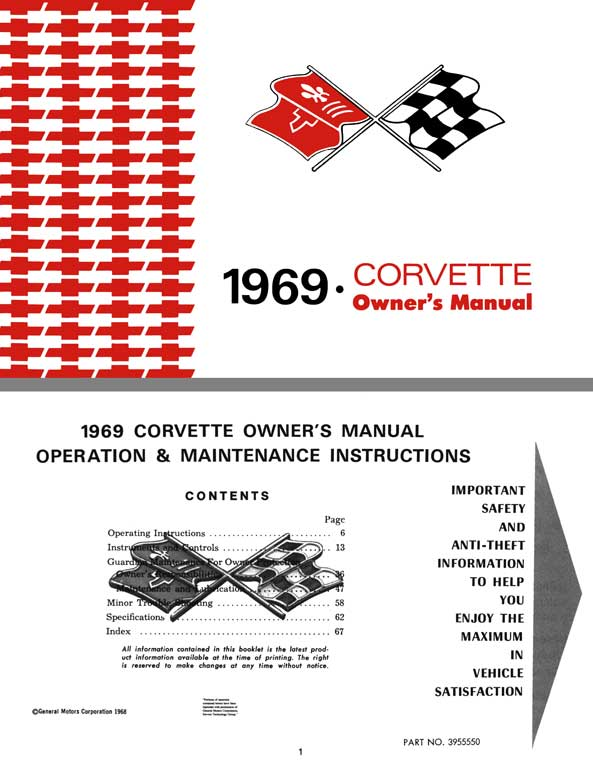 Chevrolet Corvette 1969 - 1969 Corvette Owners Manual