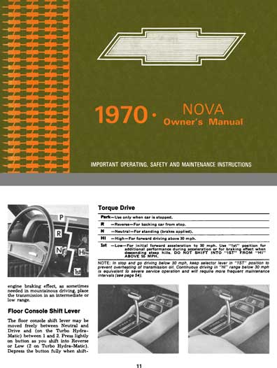 Chevrolet Nova 1970 Owner's Manual