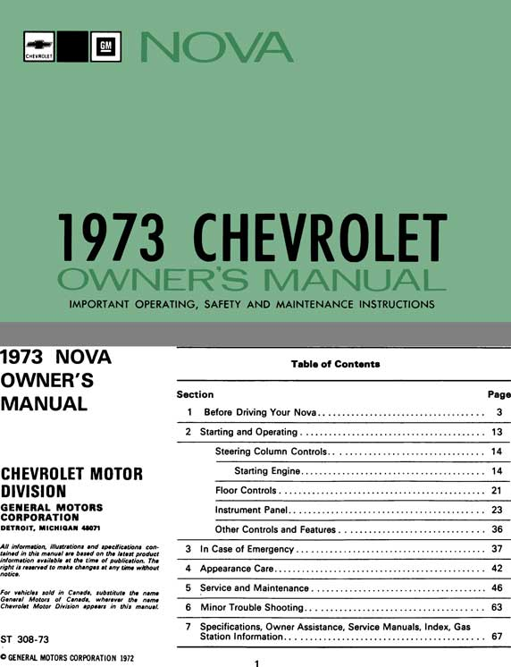 Chevrolet Nova 1973 Owner's Manual - Nova 1973 Chevrolet Owner's Manual