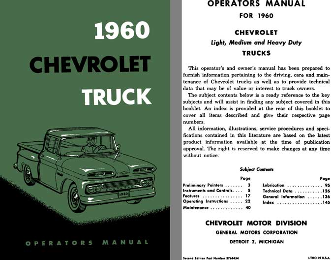 Chevrolet Truck 1960 - 1960 Chevrolet Truck Operators Manual