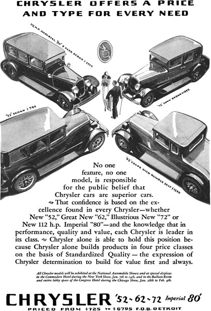 Chrysler 1927 - Chrysler Ad - Chrysler Offers a Price and Type for Every Need