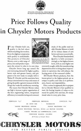 Chrysler 1929 - Chrysler Ad - Price Follows Quality in Chrysler Motors Products