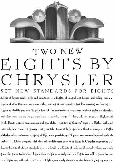 Chrysler 1930 - Chrysler Ad - Two New Eights By Chrysler - Set New Standards for Eights