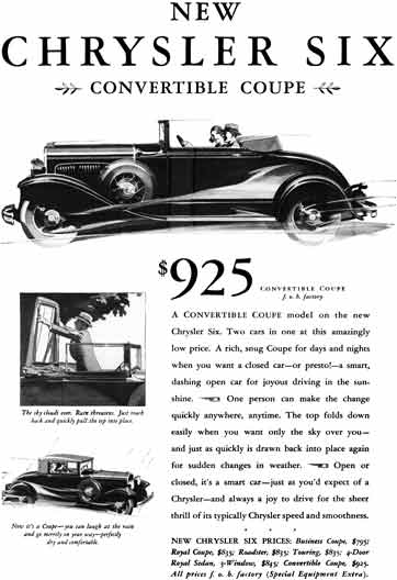 Chrysler 1930 - Chrysler Ad - New Chrysler Six Convertible Coupe with Price
