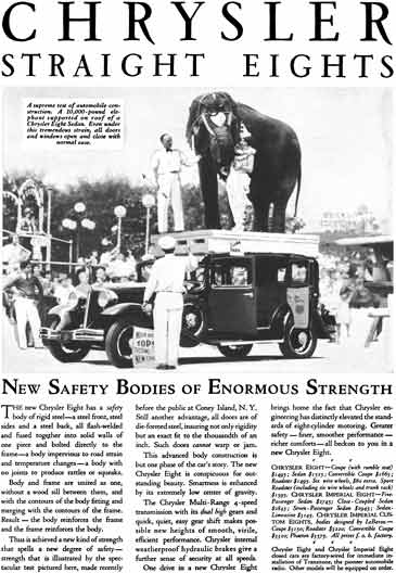 Chrysler 1931 - Chrysler Ad - Chrysler Straight Eights - New Safety Bodies of Enormous Strength