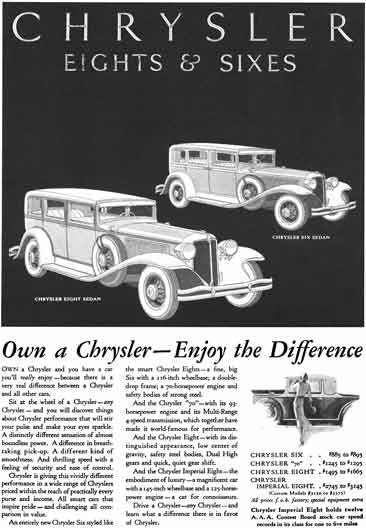Chrysler 1931 - Chrysler Eights & Sixes Ad - Own a Chrysler - Enjoy the Difference