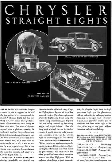 Chrysler 1931 - Chrysler Straight Eights Ad - Models with Prices