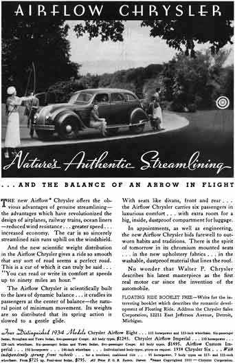 Chrysler 1934 - Chrysler Ad - Airflow Chrysler - nature's Authentic Streamlining… and balance of an