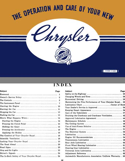 Chrysler 1939 - Chrysler Royal - The Operation and Care of Your New Chrysler Owners Manual Code C-22