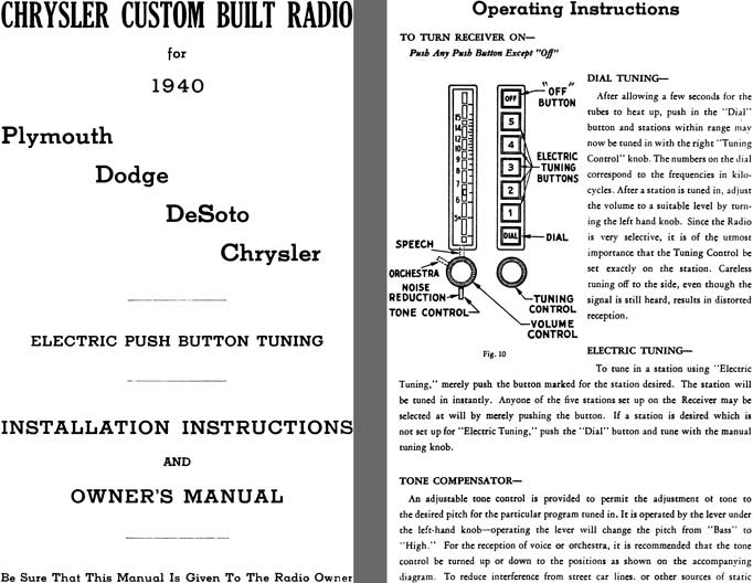 Chrysler 1940 - Chrysler Custom Radio for 1940 - Installation Instructions and Owners Manual