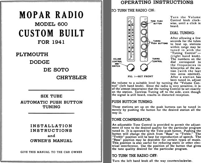 Chrysler 1941 - Mopar Radio Model 600 Custom Built for 1941 Plymouth, Dodge, DeSoto, Chrysler