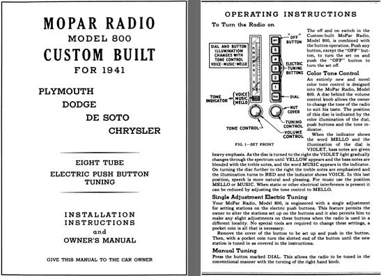 Chrysler 1941 - Installation Instructions and Owners Manual