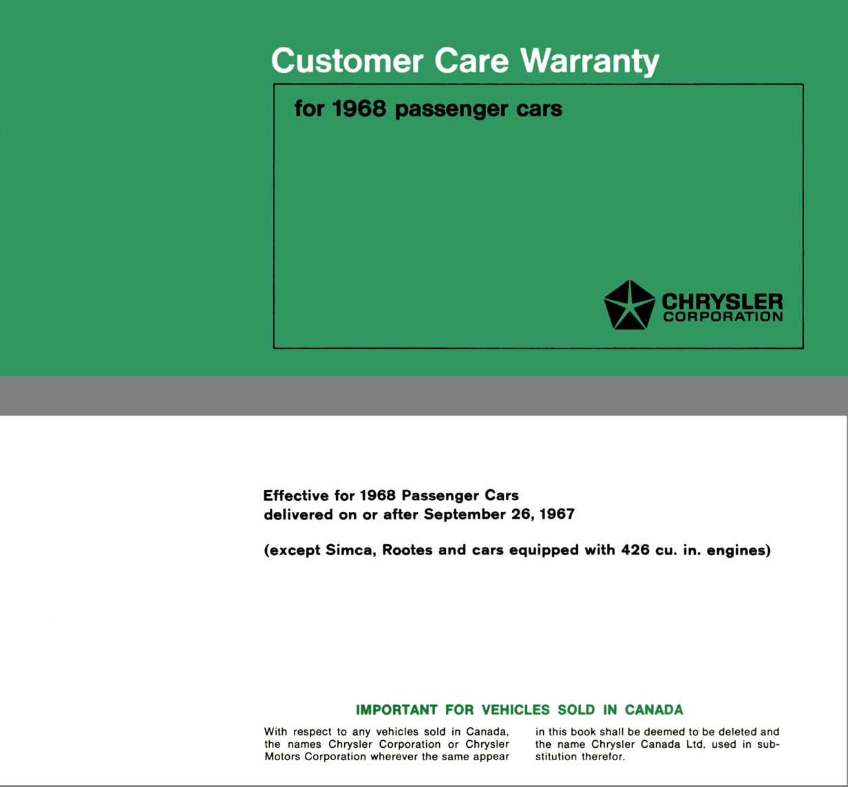 Chrysler 1968 - Customer Care Warranty for 1968 Passenger Cars
