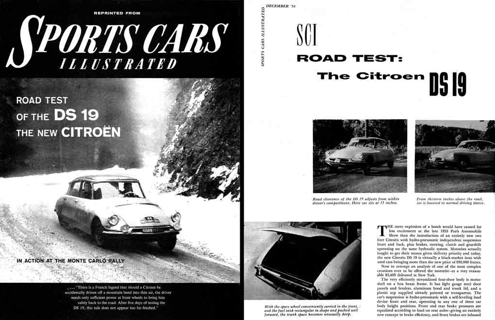 DS19 1956 Citroen - Road Test of the DS 19 - Sports Cars Illustrated