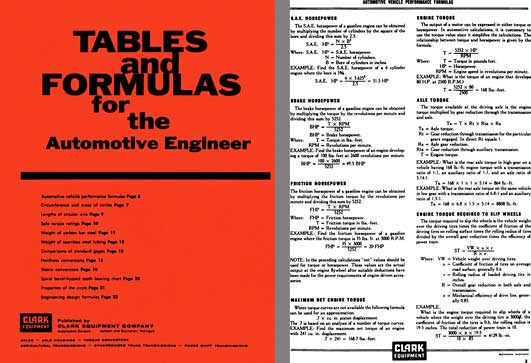 Clark Equipment c1969 - Tables and formulas for the Automotive Engineer