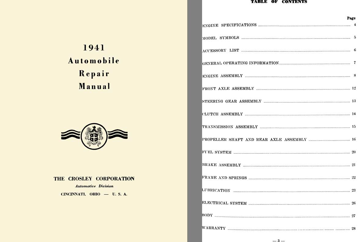 Crosley 1941 - 1941 Automobile Repair Manual