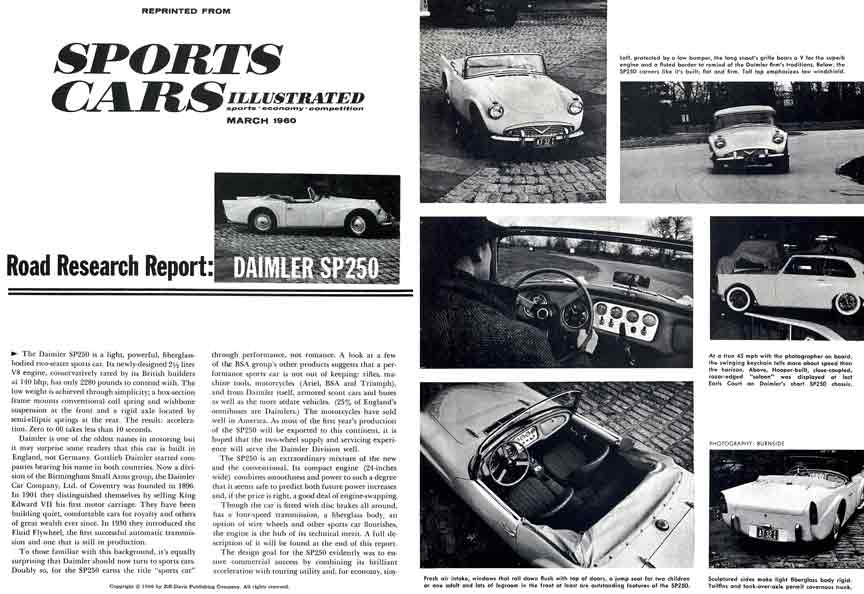 Daimler SP250 1960 - Sports Cars Illustrated Reprint March 1960