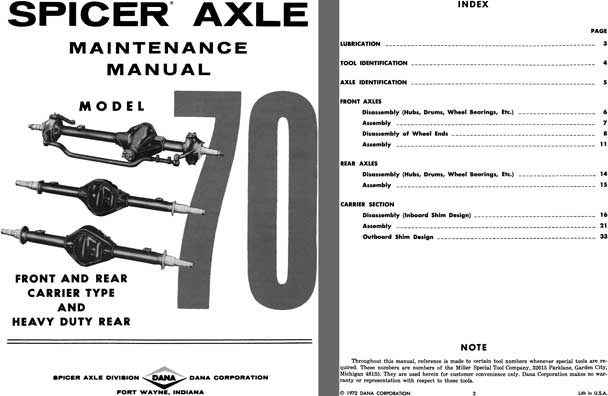 Dana Spicer Axle 1972 - Spicer Axle Model 70 Independent Front & Rear Carrier Type Maint. Manual
