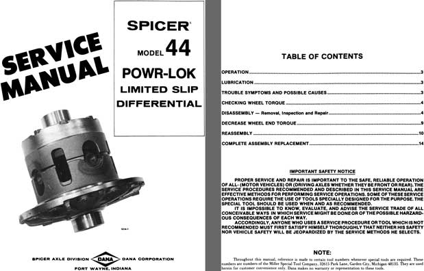 Dana Spicer Axle c1977 - Spicer Model 44 Powr-Lok Limited Slip Differential Service Manual