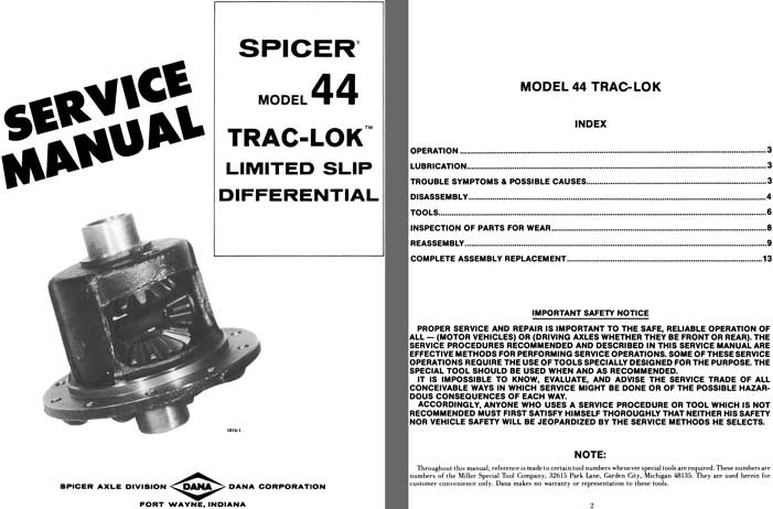 Dana Spicer Axle c1977 - Spicer Model 44 Trak-Lok Limited Slip Differential Service Manual