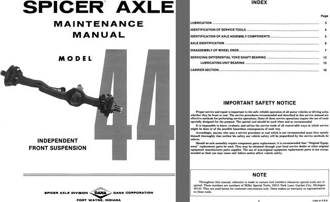 Dana Spicer Axle c1981 - Spicer Axle Model 44 Independent Front Suspension Maintenance Manual