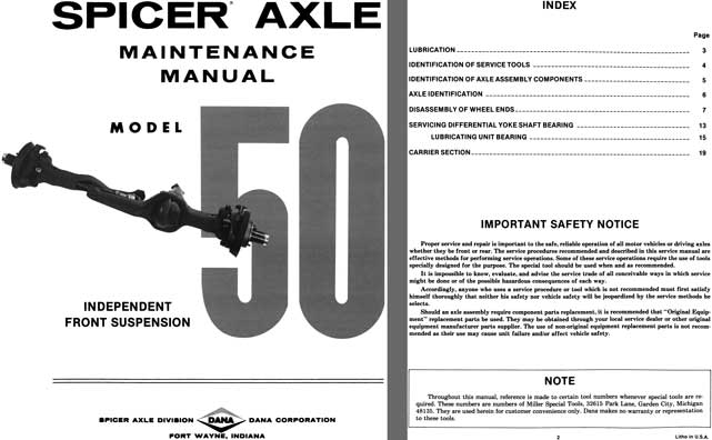 Dana Spicer Axle c1981 - Spicer Axle Model 50 Independent Front Suspension Maintenance Manual